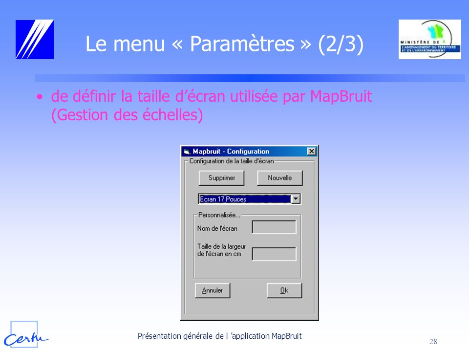 Le menu « Paramètres » (2/3)