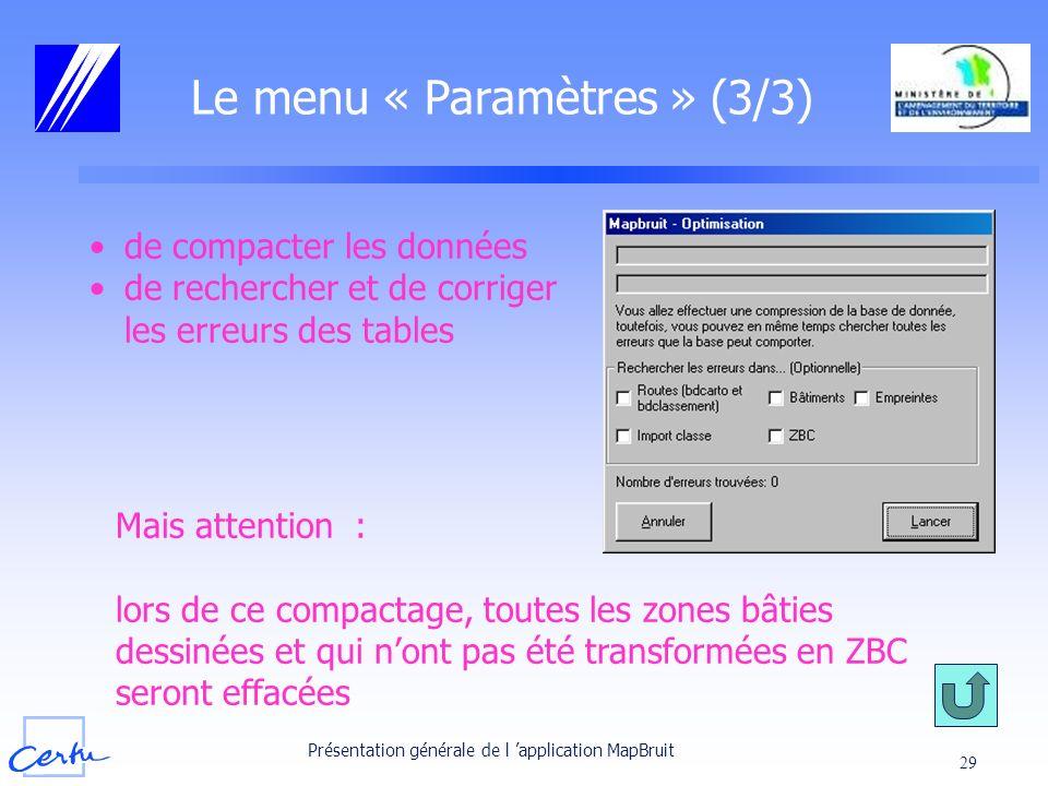 Le menu « Paramètres » (3/3)