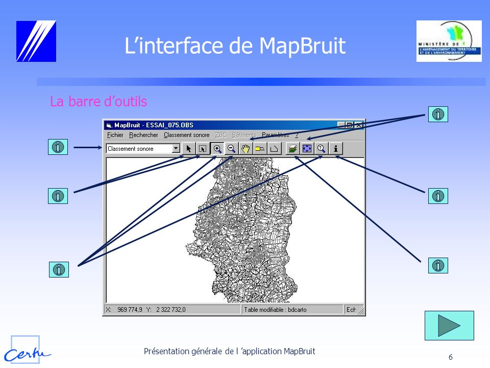 L'interface de MapBruit