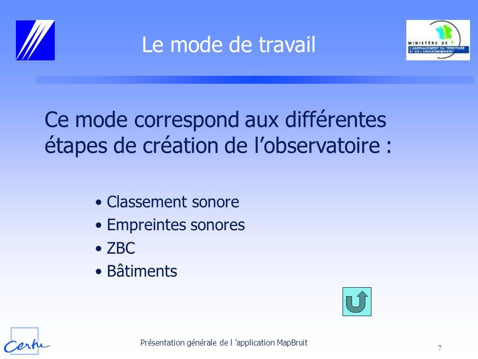 Le mode de travail Ce mode correspond aux différentes étapes de création de l'observatoire : Classement sonore.