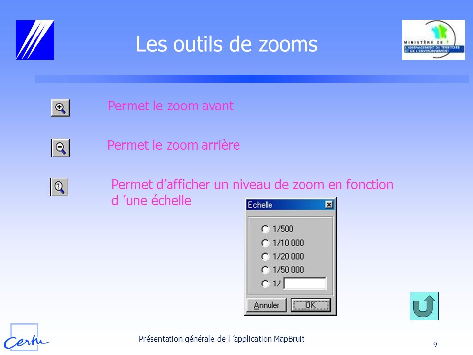 Les outils de zooms Permet le zoom avant Permet le zoom arrière