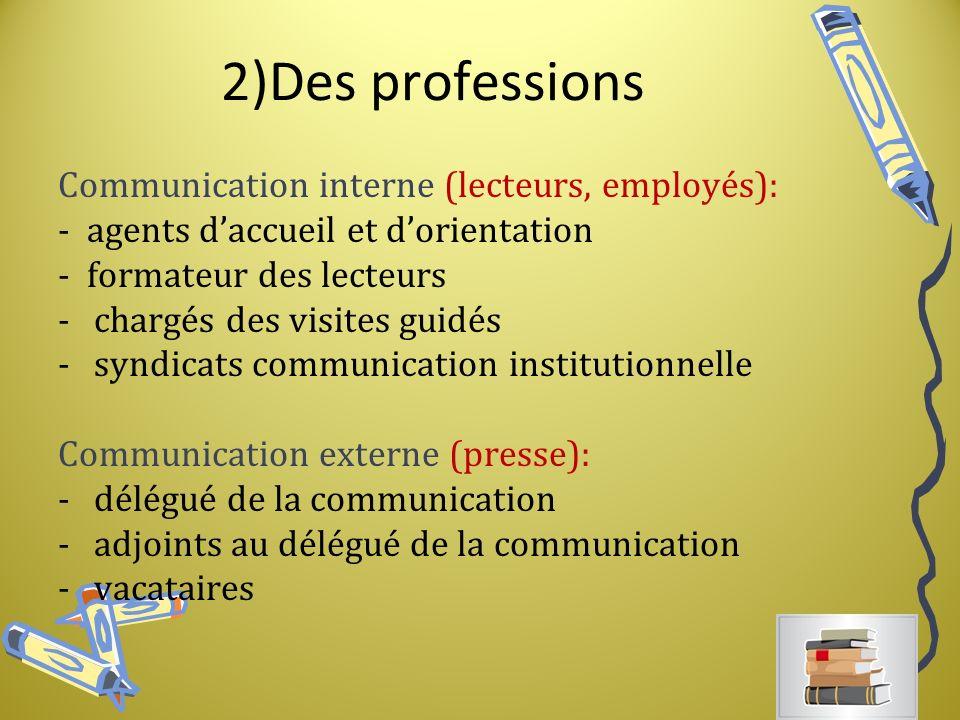 2)Des professions Communication interne (lecteurs, employés):