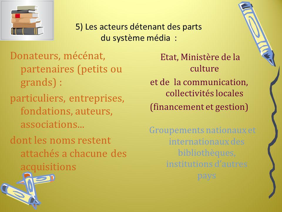 5) Les acteurs détenant des parts du système média :