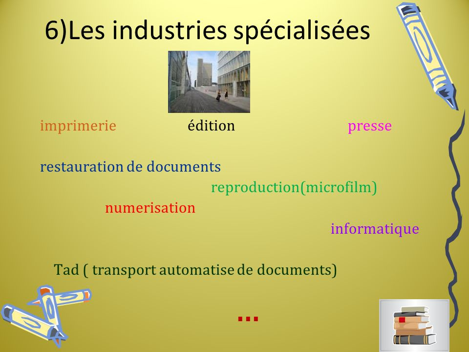 6)Les industries spécialisées