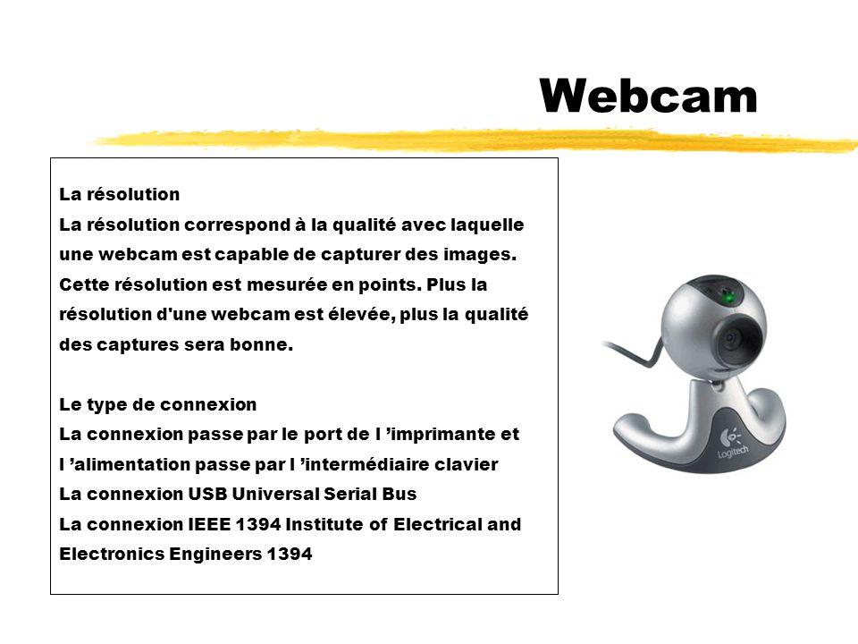 Webcam La résolution. La résolution correspond à la qualité avec laquelle. une webcam est capable de capturer des images.
