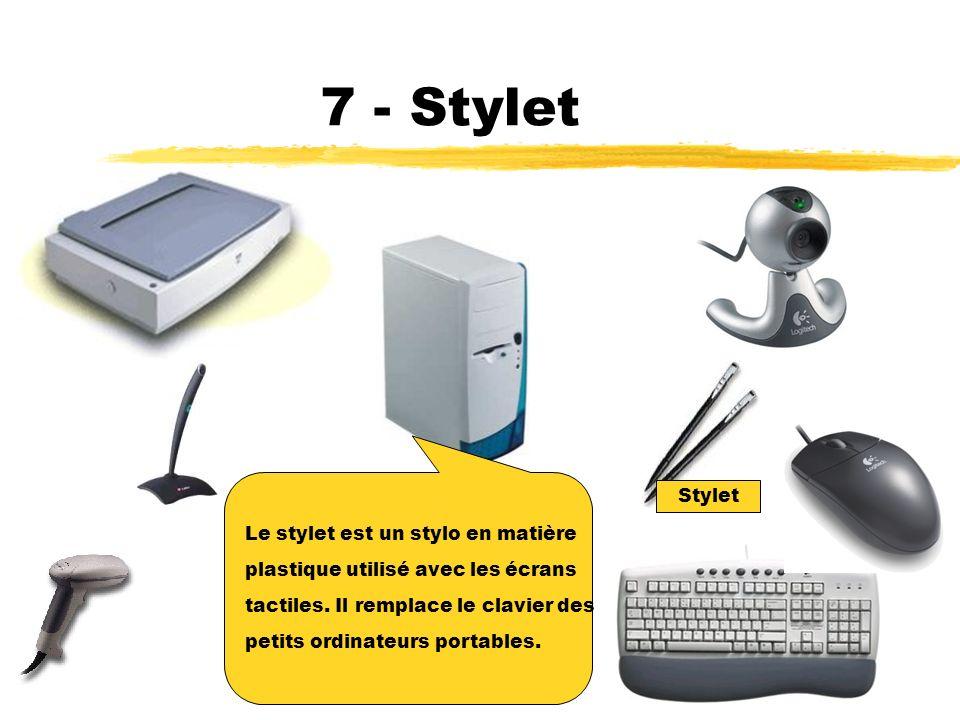7 - Stylet Stylet Le stylet est un stylo en matière
