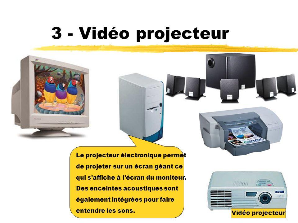 3 - Vidéo projecteur Le projecteur électronique permet