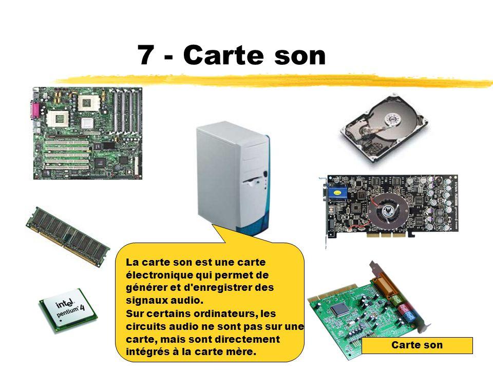 7 - Carte son La carte son est une carte électronique qui permet de