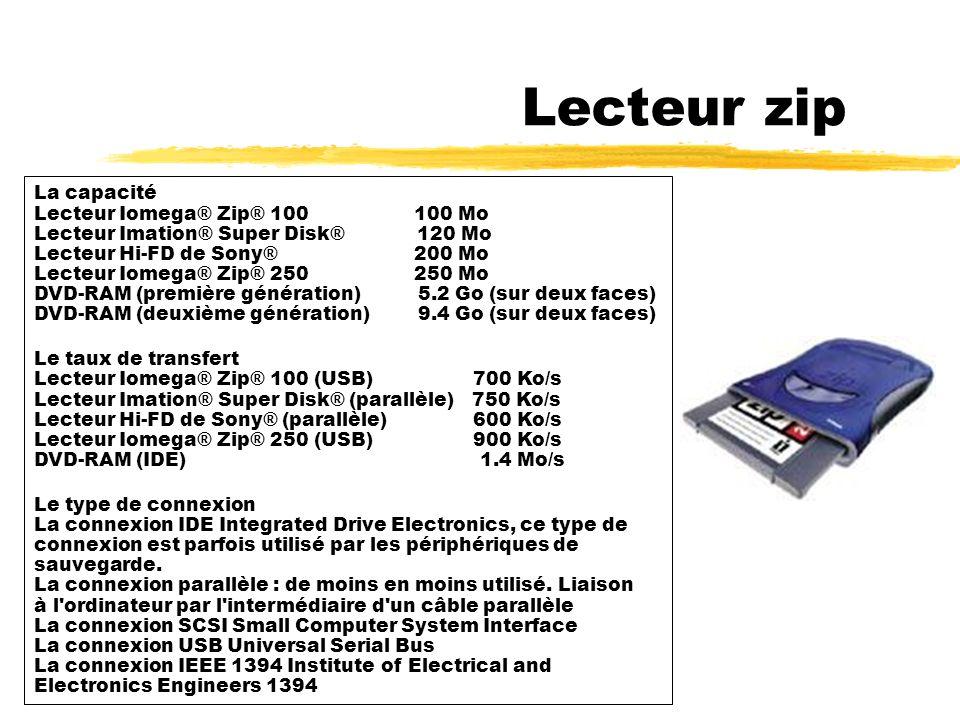 Lecteur zip La capacité Lecteur Iomega® Zip® 100 100 Mo