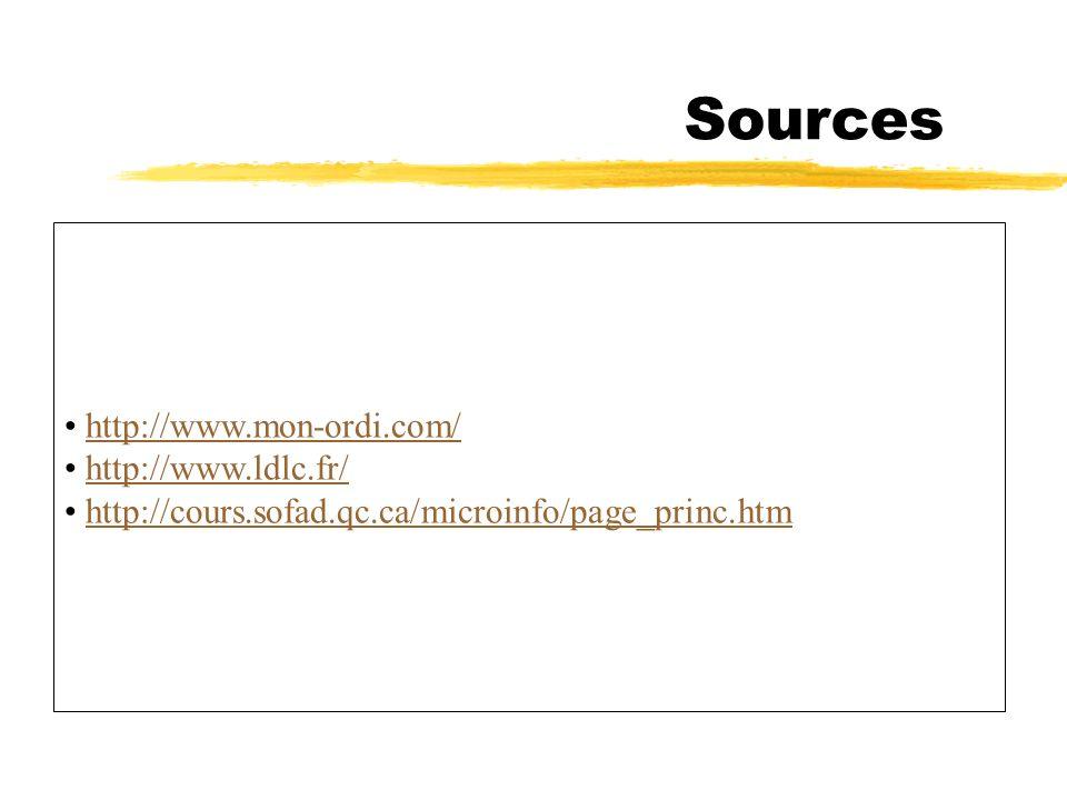 Sources http://www.mon-ordi.com/ http://www.ldlc.fr/