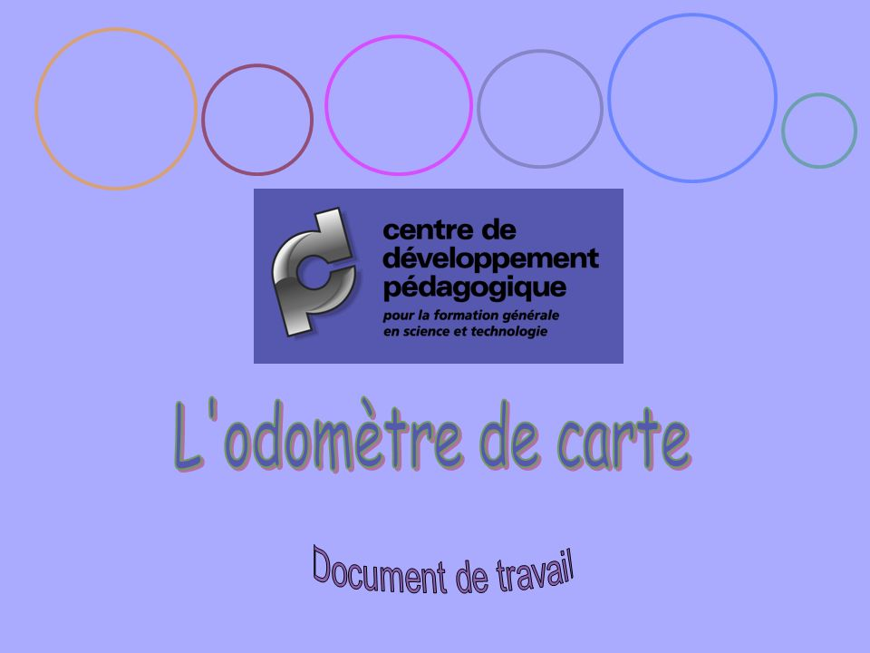 L odomètre de carte Document de travail