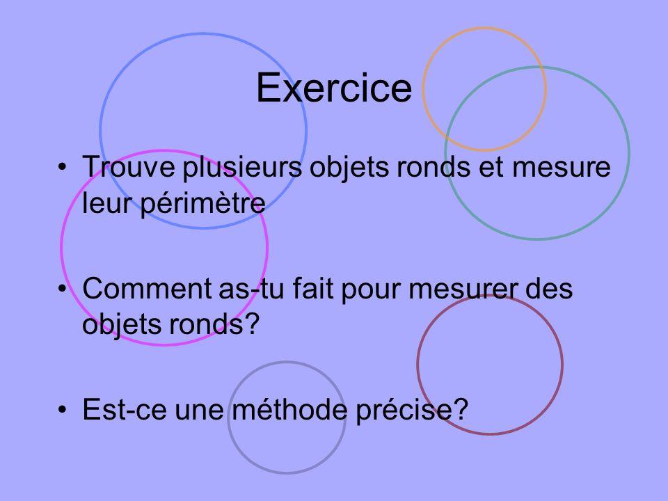Exercice Trouve plusieurs objets ronds et mesure leur périmètre