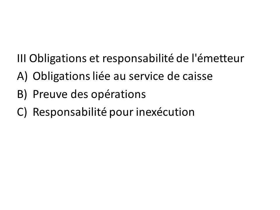 III Obligations et responsabilité de l émetteur