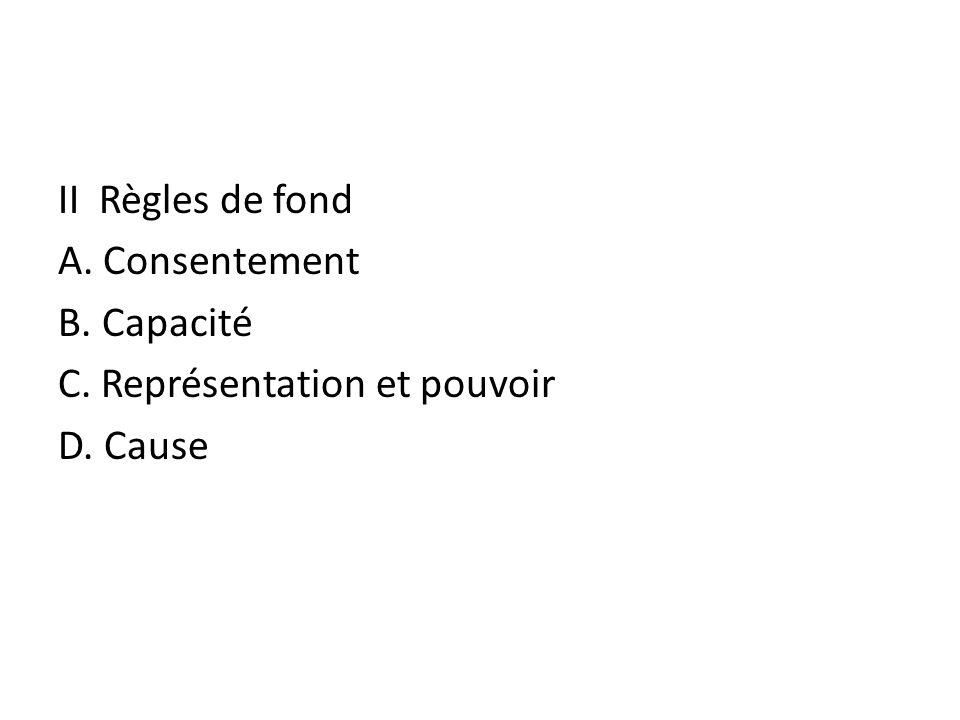 II Règles de fond A. Consentement B. Capacité C. Représentation et pouvoir D. Cause