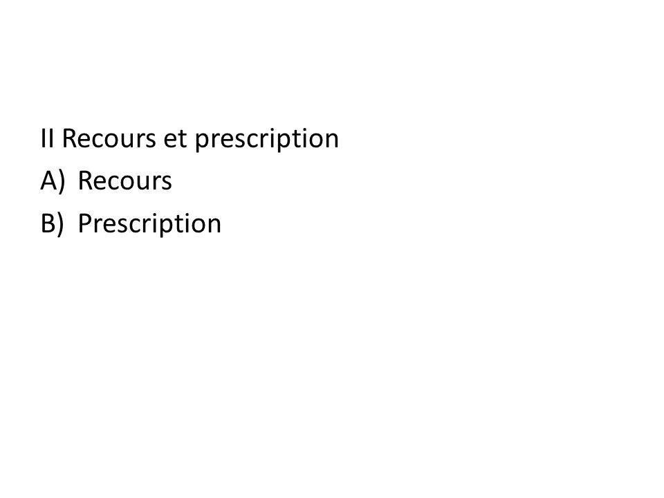 II Recours et prescription