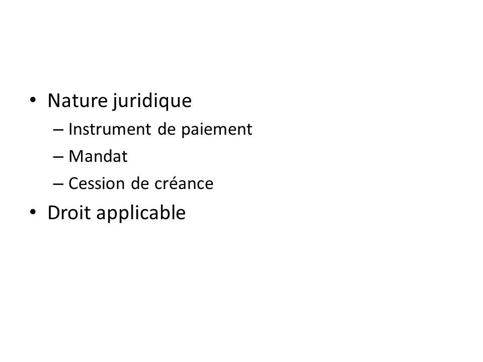 Nature juridique Droit applicable Instrument de paiement Mandat