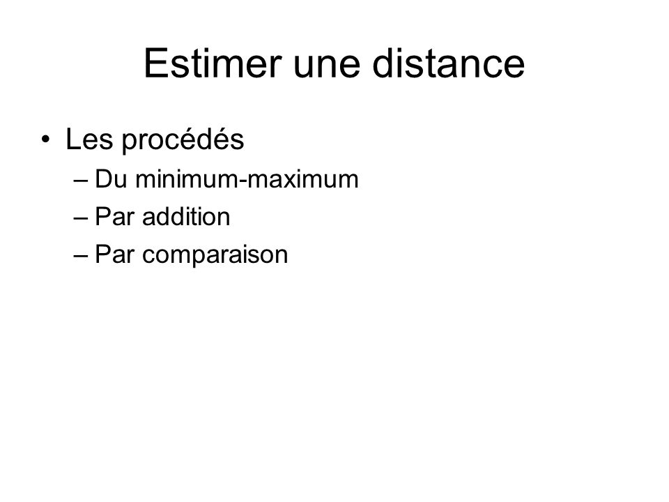 Estimer une distance Les procédés Du minimum-maximum Par addition