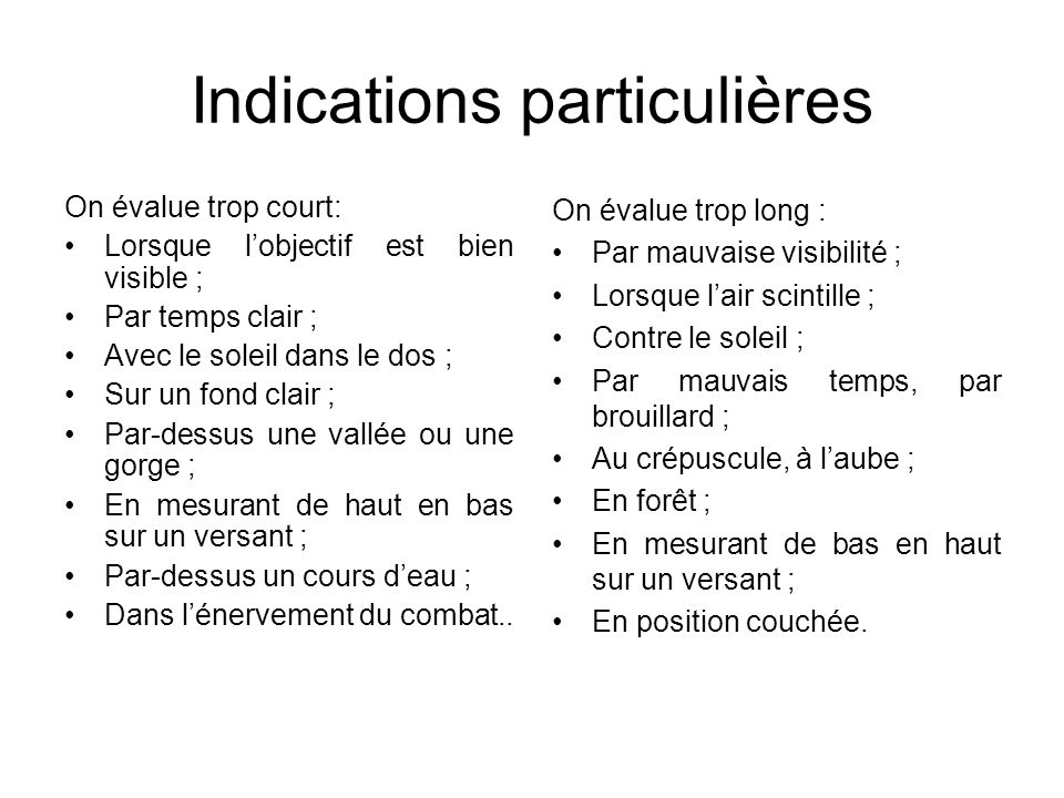 Indications particulières
