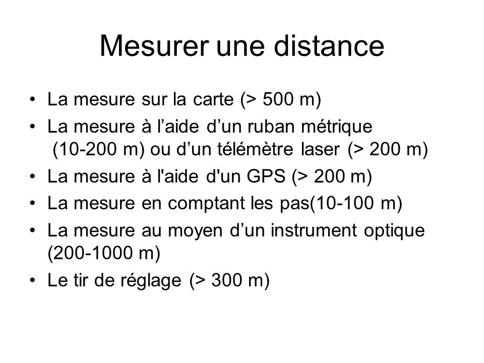 Mesurer une distance La mesure sur la carte (> 500 m)