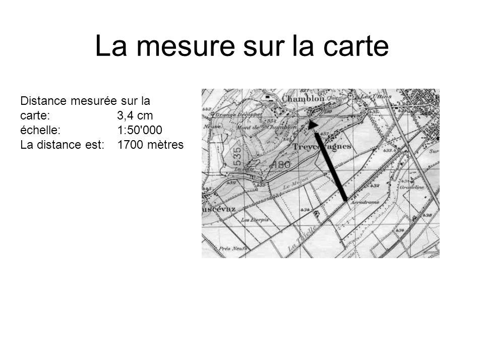 La mesure sur la carte Distance mesurée sur la carte: 3,4 cm