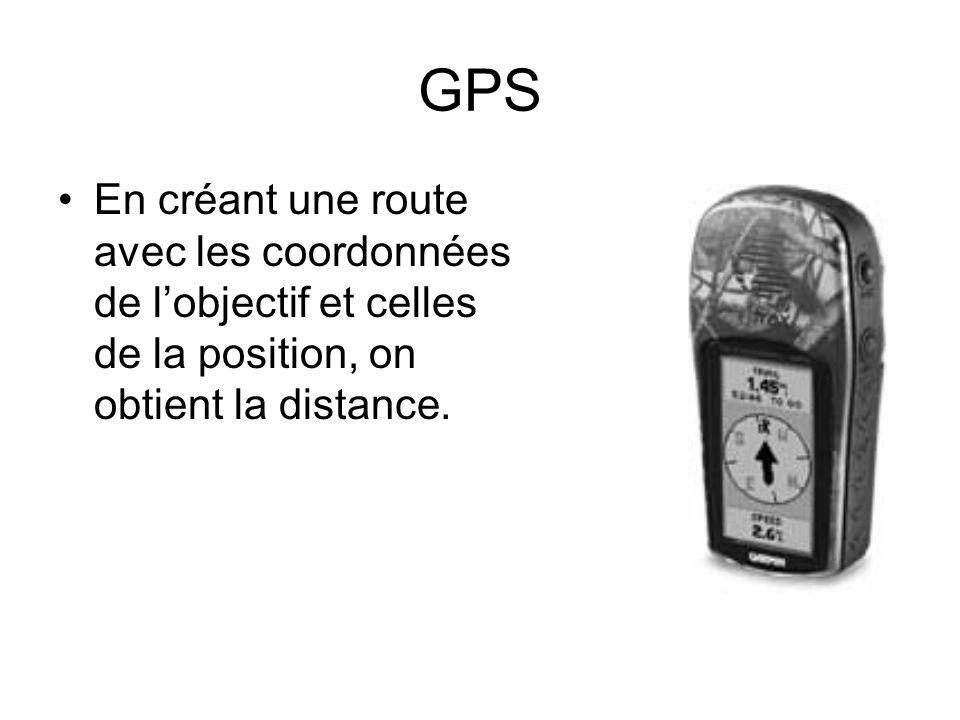 GPS En créant une route avec les coordonnées de l'objectif et celles de la position, on obtient la distance.