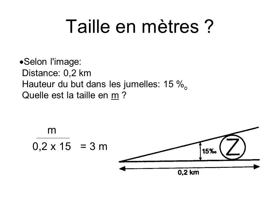 Taille en mètres Selon l image: Distance: 0,2 km