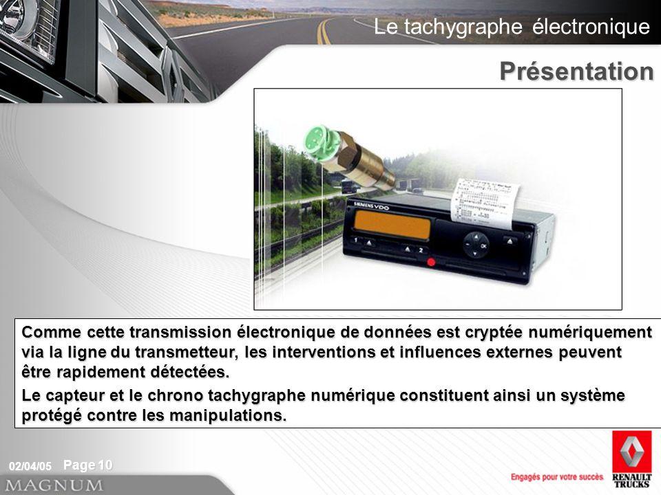 Présentation Le capteur du chrono tachygraphe transmet des données au