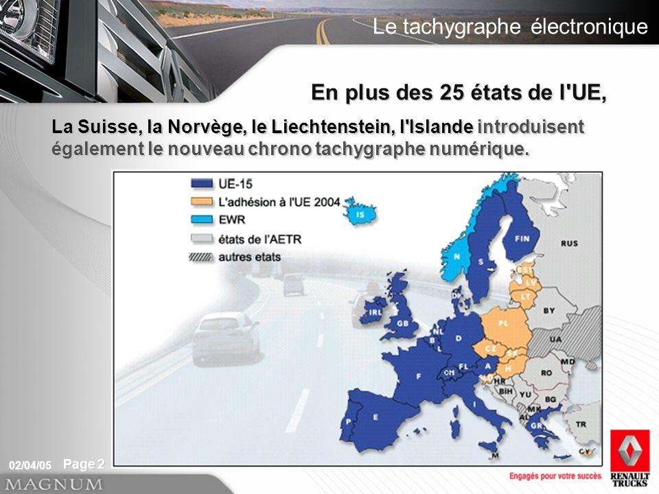 En plus des 25 états de l UE, La Suisse, la Norvège, le Liechtenstein, l Islande introduisent également le nouveau chrono tachygraphe numérique.