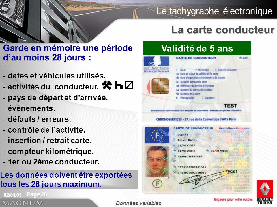 La carte conducteur Validité de 5 ans