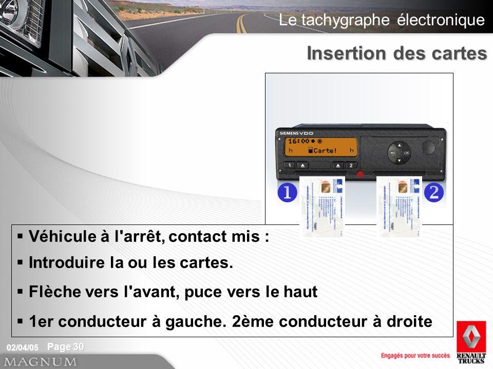 u v Insertion des cartes Véhicule à l arrêt, contact mis :