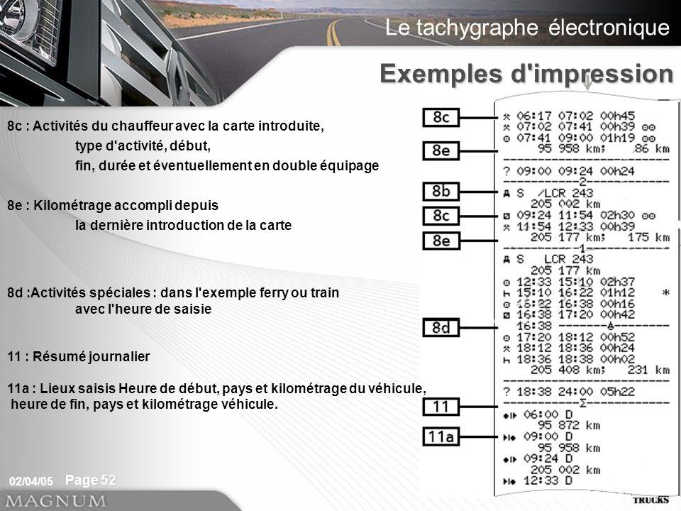 Exemples d impression 8c : Activités du chauffeur avec la carte introduite, type d activité, début,