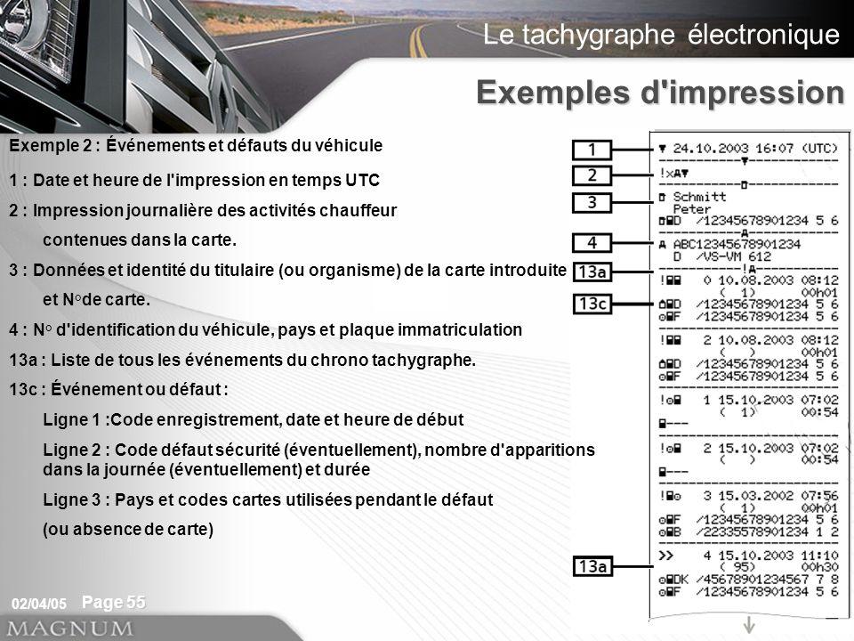 Exemples d impression Exemple 2 : Événements et défauts du véhicule