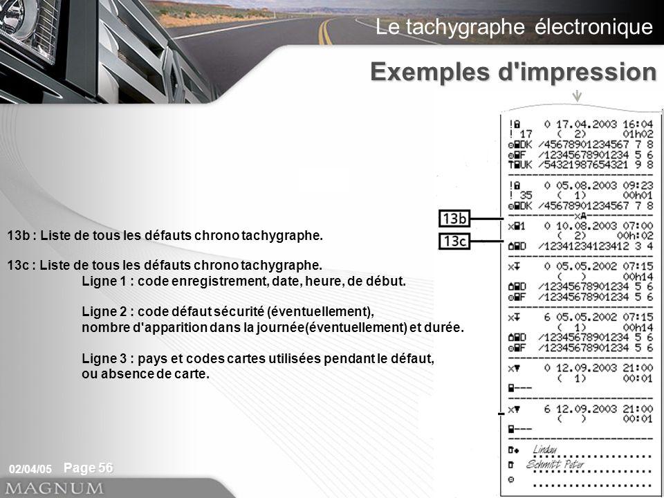 Exemples d impression 13b : Liste de tous les défauts chrono tachygraphe. 13c : Liste de tous les défauts chrono tachygraphe.