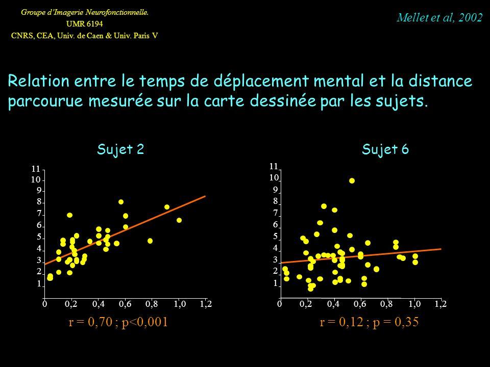 Mellet et al, 2002 Relation entre le temps de déplacement mental et la distance parcourue mesurée sur la carte dessinée par les sujets.