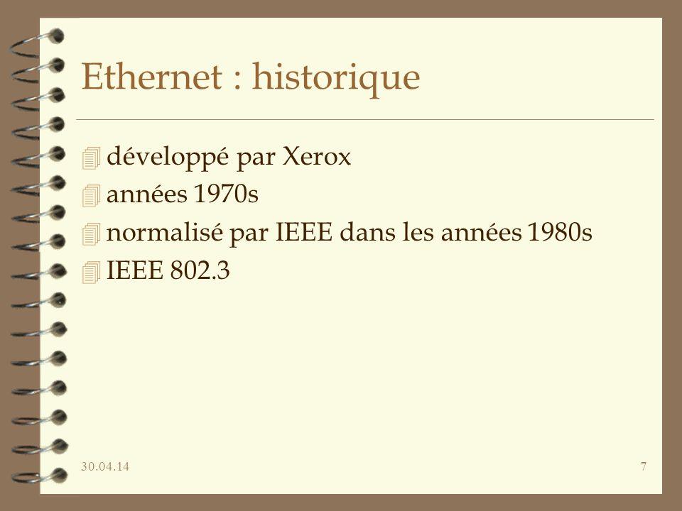 Ethernet : historique développé par Xerox années 1970s