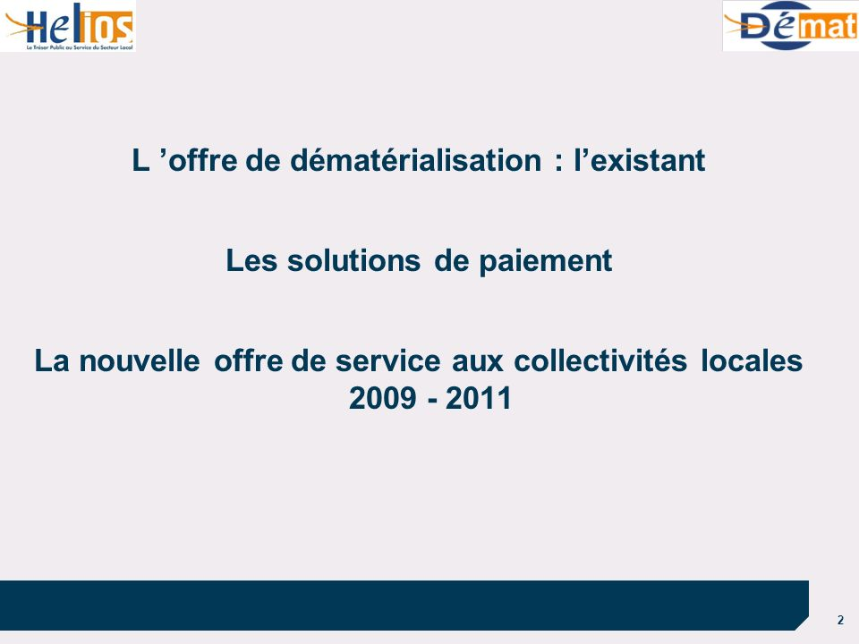 2 L 'offre de dématérialisation : l'existant Les solutions de paiement