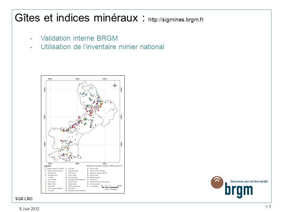 Gîtes et indices minéraux : http://sigmines.brgm.fr