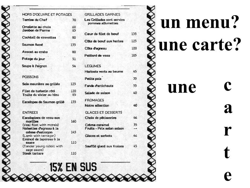 un menu une carte c a r t e une