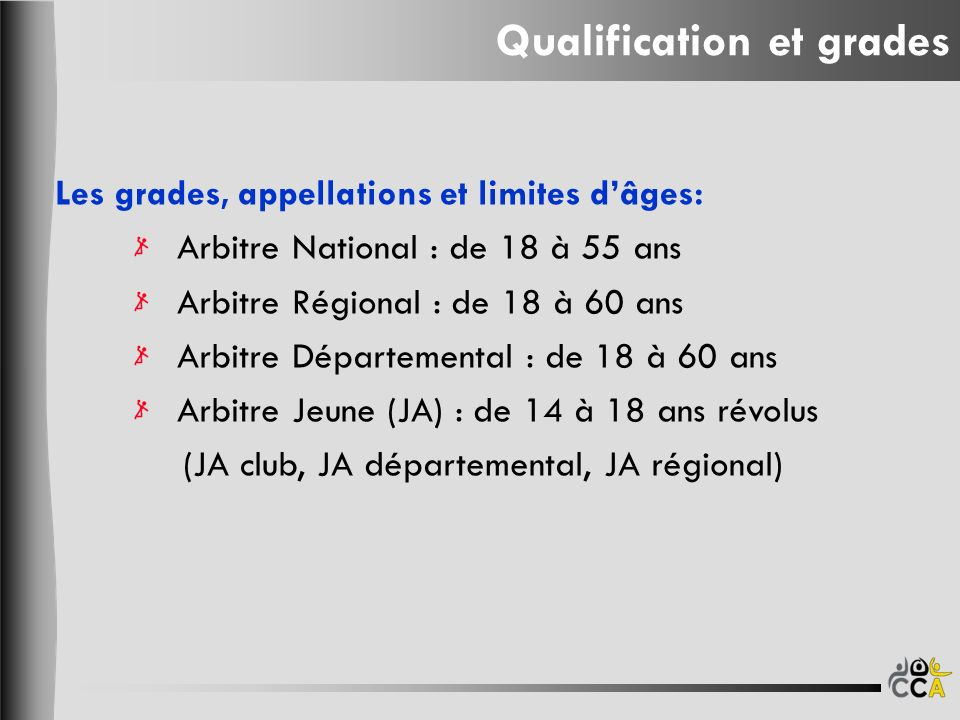 Qualification et grades