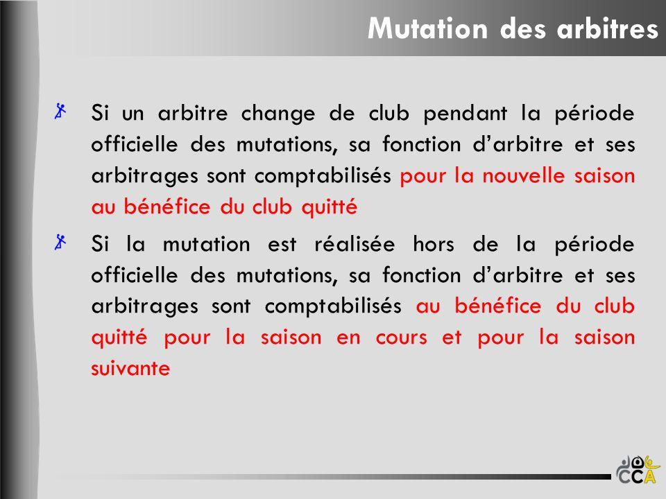 Mutation des arbitres