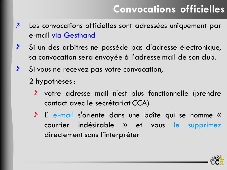 Convocations officielles