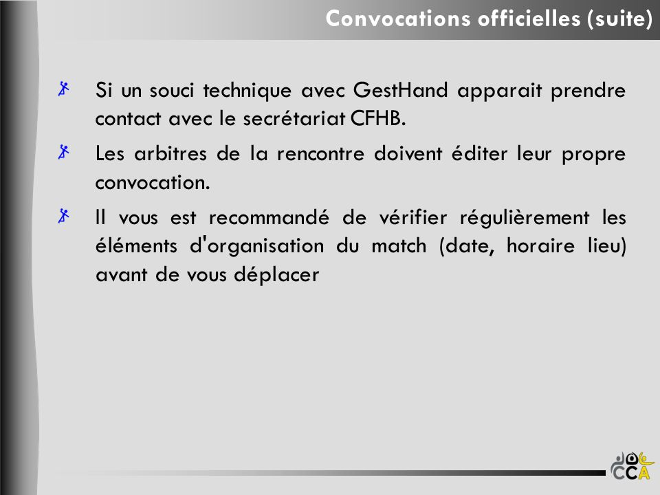 Convocations officielles (suite)