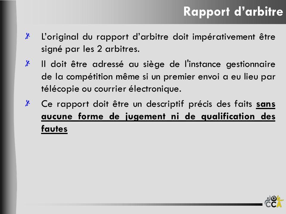 Rapport d'arbitre L'original du rapport d'arbitre doit impérativement être signé par les 2 arbitres.