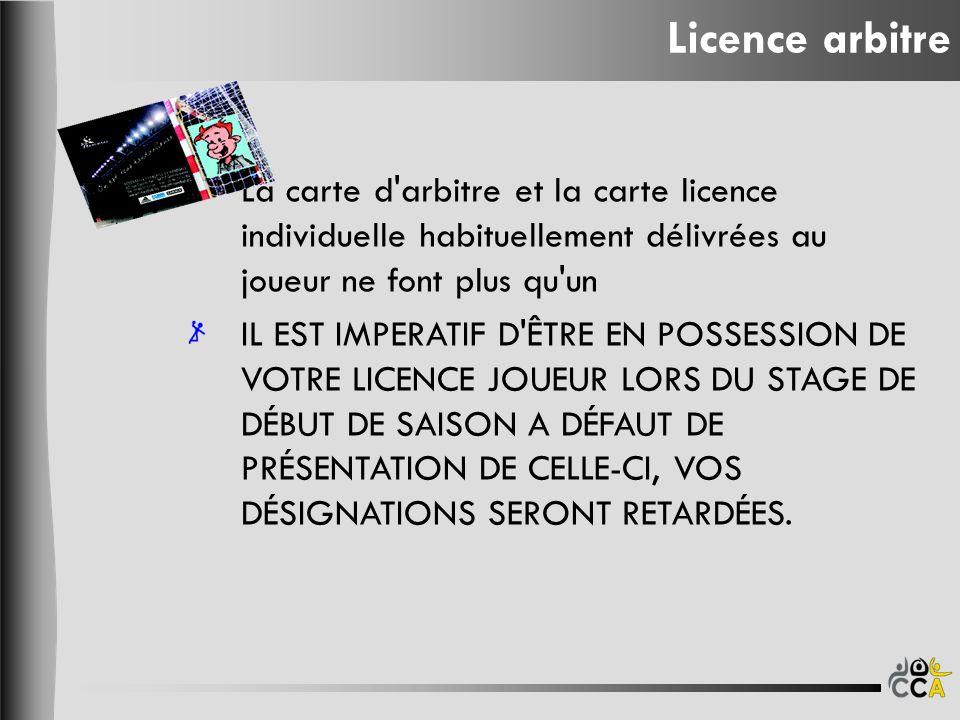 Licence arbitre La carte d arbitre et la carte licence individuelle habituellement délivrées au joueur ne font plus qu un.