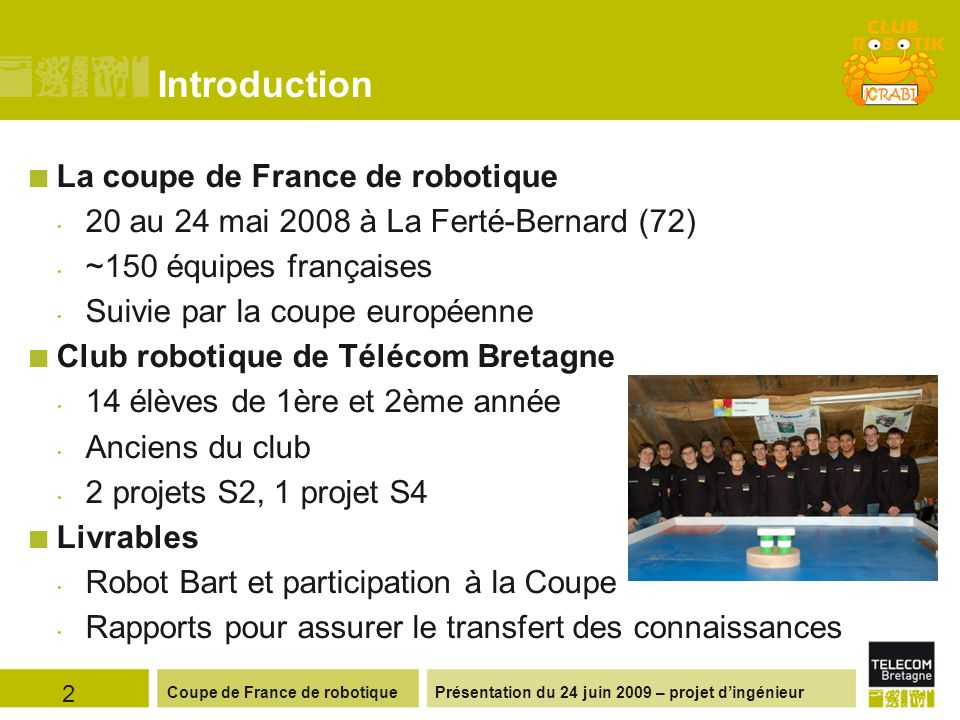 Introduction La coupe de France de robotique