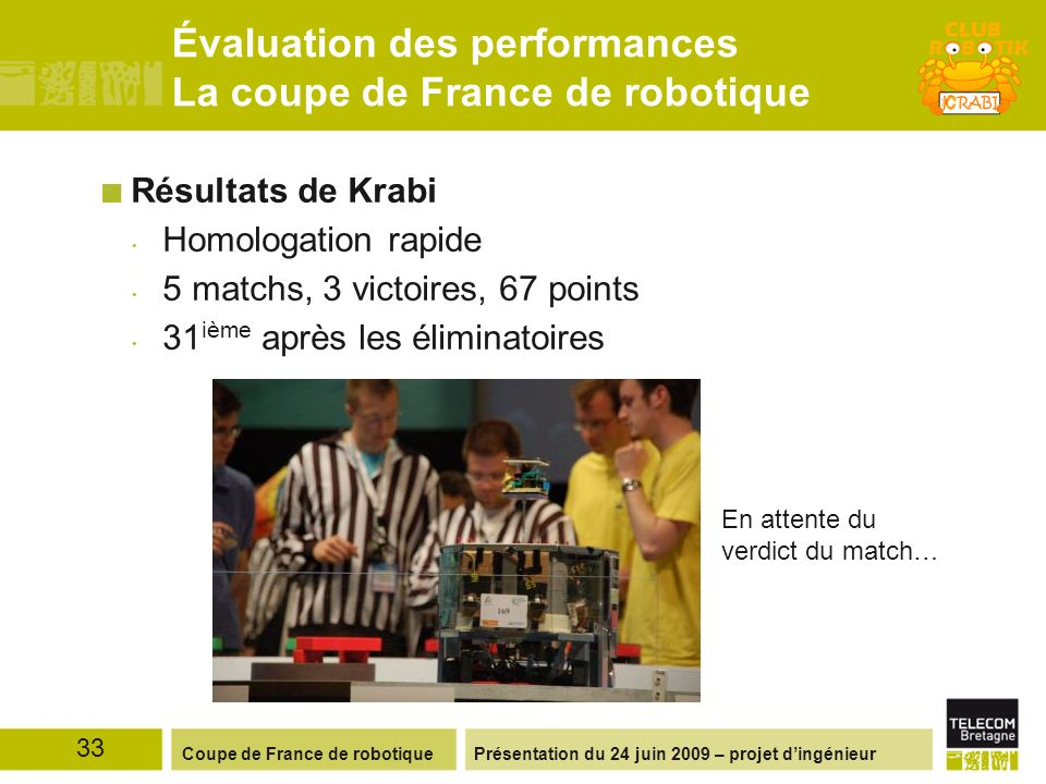 Évaluation des performances La coupe de France de robotique