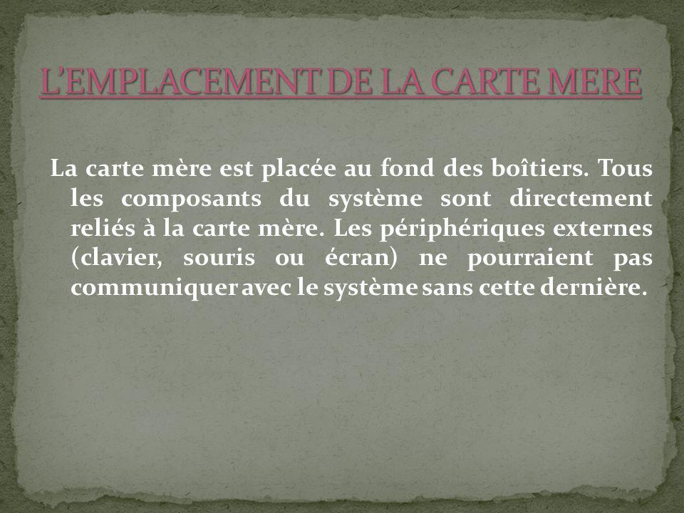 L'EMPLACEMENT DE LA CARTE MERE