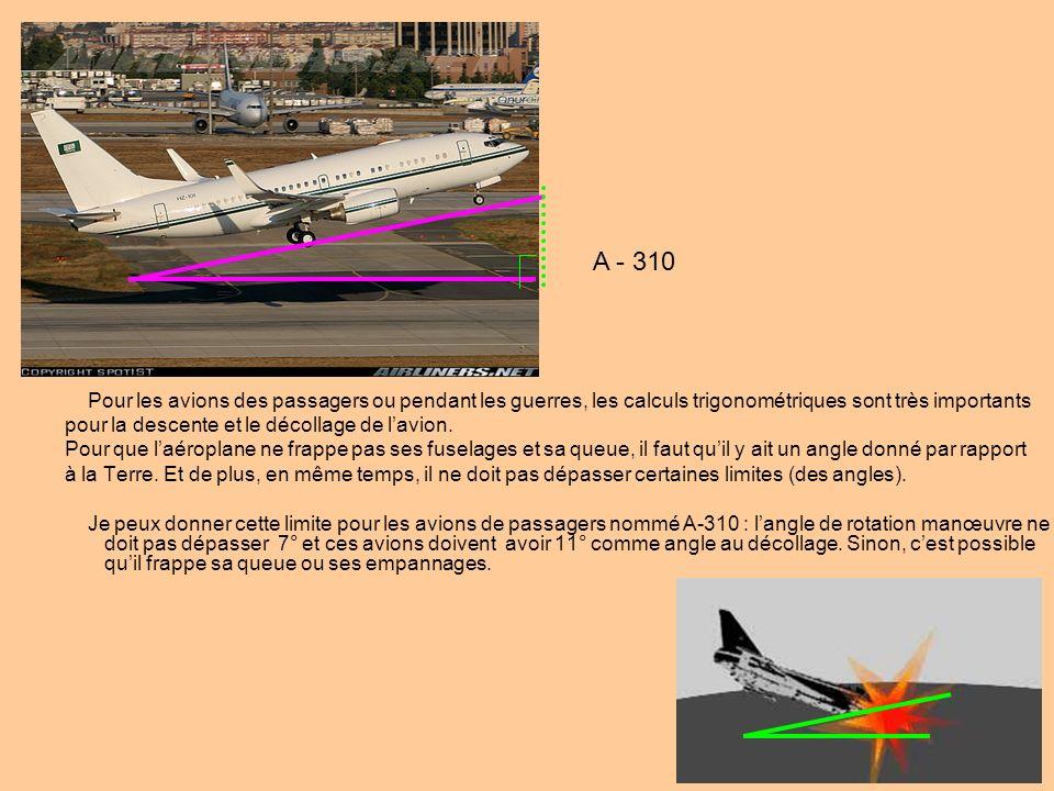 A - 310 Pour les avions des passagers ou pendant les guerres, les calculs trigonométriques sont très importants.