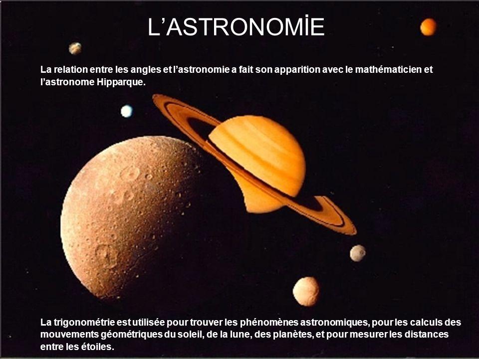 L'ASTRONOMİE La relation entre les angles et l'astronomie a fait son apparition avec le mathématicien et.