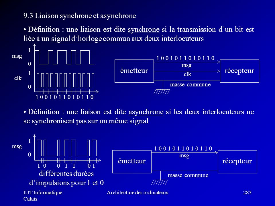 9.3 Liaison synchrone et asynchrone